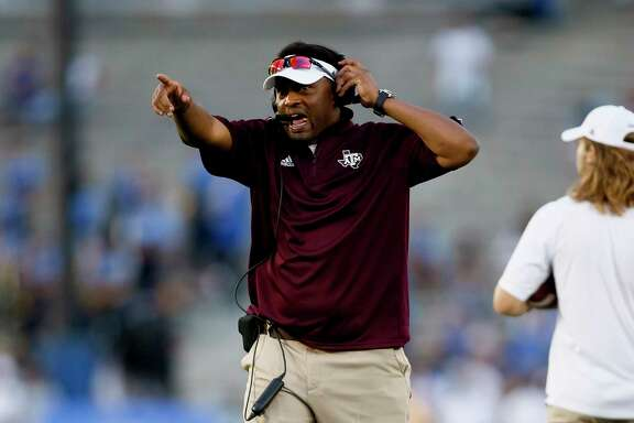 Texas A&M head coach Kevin Sumlin is seen against UCLA during an NCAA college football game, Sunday, Sept. 3, 2017, in Pasadena, Calif. UCLA won 45-44. (AP Photo/Danny Moloshok)