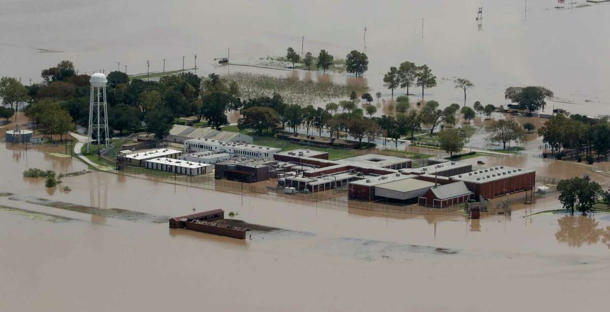 A state prison unit in Rosharon is submerged by water from the flooded Brazos River in the aftermath of Hurricane Harvey.