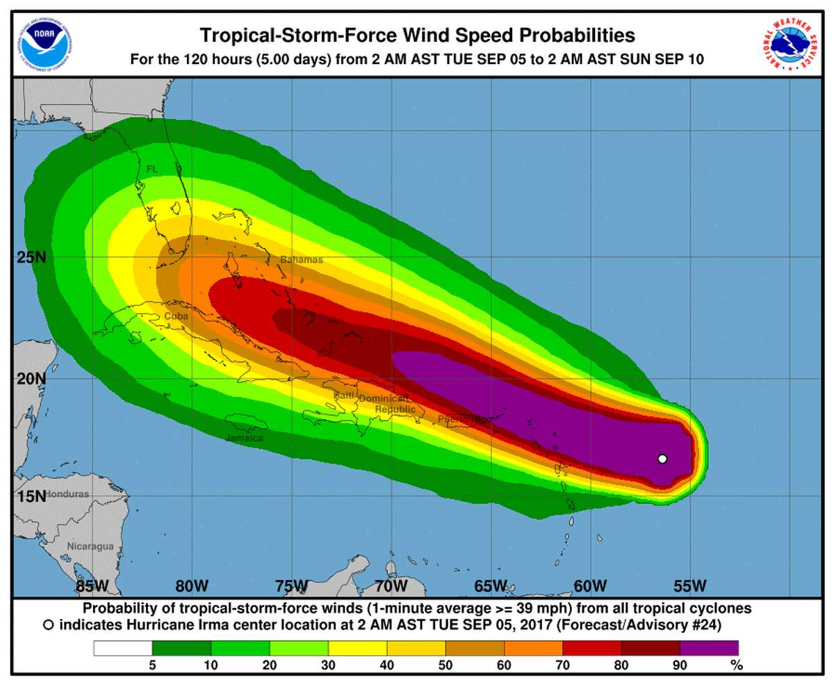 This Tuesday, Sept. 5, 2017, NOAA graphic shows Hurricane Irma nearing the eastern Caribbean. Hurricane Irma grew into a Category 5 storm Tuesday. (NOAA via AP)