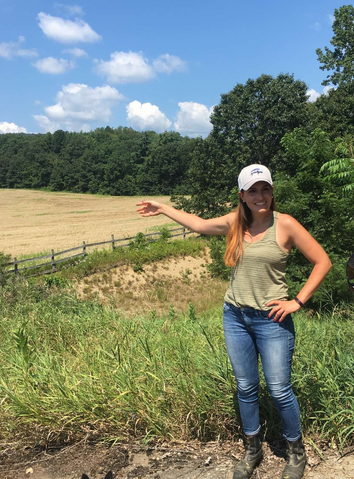 Rachel Czub, 31, points to the future site of a grain hub she hopes to build in Moreau. (Courtesy of Rachel Czub)