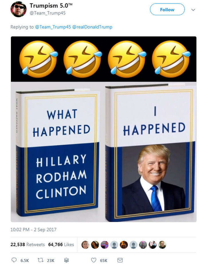 U.S. President Donald Trump retweeted a photo a photo poking fun at Hillary Clinton while he was meeting with Hurricane Harvey victims in Texas on Sept. 2, 2017.Image source: Twitter Photo: Twitter