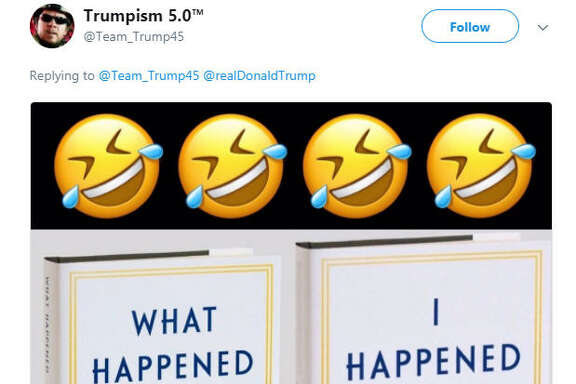 U.S. President Donald Trump retweeted a photo a photo poking fun at Hillary Clinton while he was meeting with Hurricane Harvey victims in Texas on Sept. 2, 2017.  Image source:  Twitter