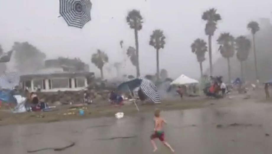A microburst of heavy rain and  severe wind surprised beachgoers at Hendry's Beach in Santa Barbara, Calif. at 2:50 p.m on  Sunday, September 3rd. Photo: Courtesy Leonard Diaz
