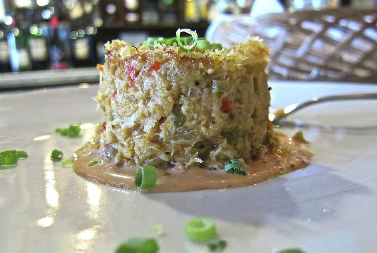 Chef Antoine Ware's crabcake with mirliton at Harold's in the Heights.