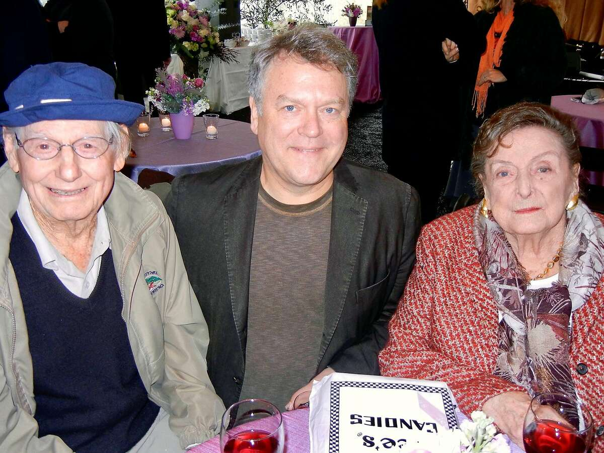 Painter Wayne Thiebaud (left) with Nion McEvoy and his late mother, arts patron Nan Tucker McEvoy, at her Petaluma Harvest Party in October 2012.
