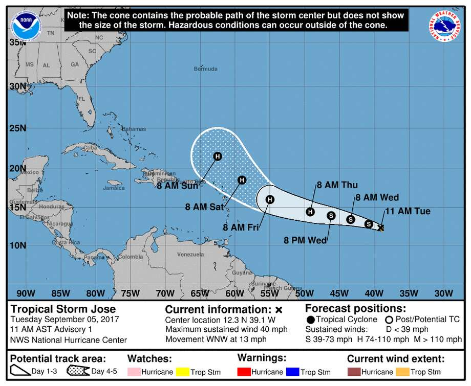A National Hurricane Center graphic shows the probable path and strength of Tropical Storm Jose in the Atlantic Ocean on Sept. 5, 2017. Forecasters predict the storm will become a hurricane by Thursday morning.PHOTOS: See the worst tropical storms to hit the Atlantic in recent decades ... Photo: File/National Hurricane Center