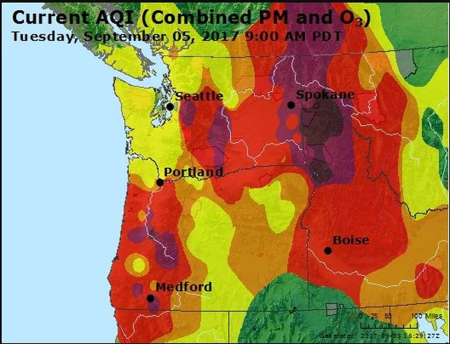 This map shows the air quality Tuesday morning across the region. Photo: Washington Smoke Information