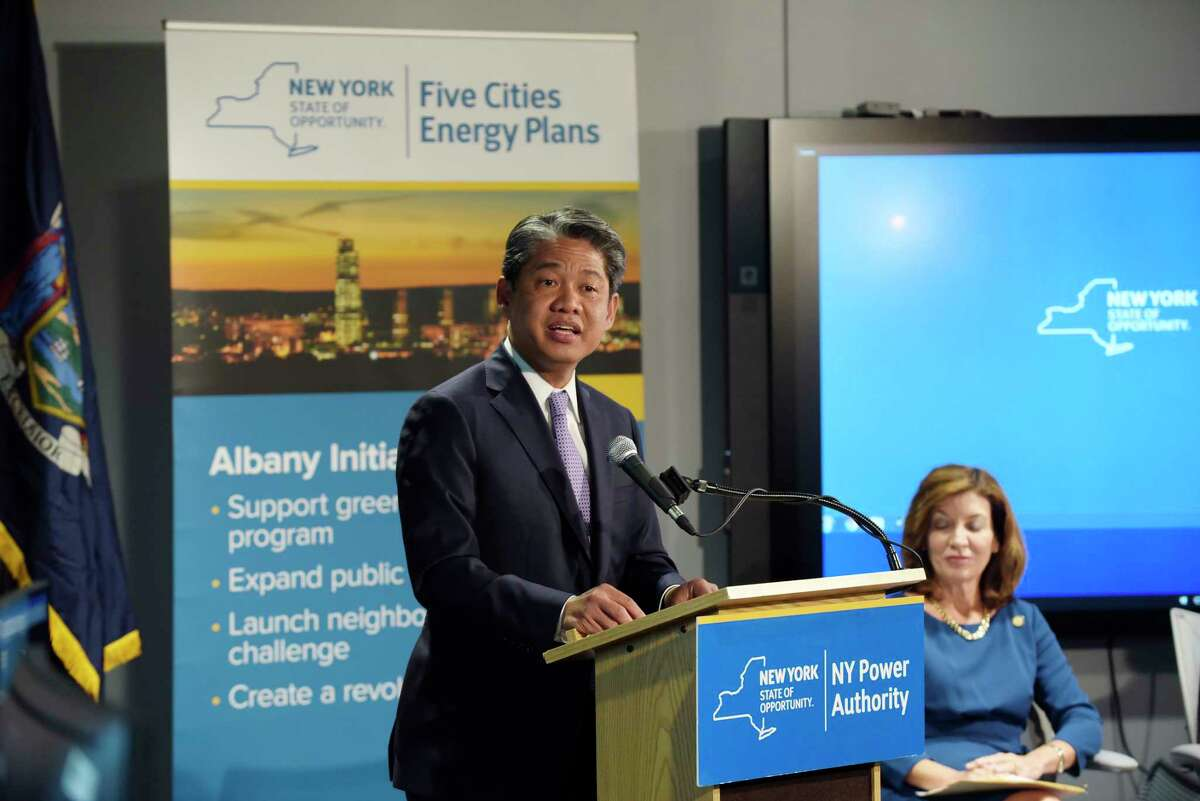 Gil Quiniones, president and CEO of the New York Power Authority, addresses those gathered, including Lieutenant Governor Kathy Hochul, background, at an event at the New York Power Authority on the campus of SUNY Polytechnic Institute on Tuesday, Sept. 5, 2017, in Albany, N.Y. It was announced at the event that the City of Albany has been awarded 1.4 million to help the city reduce energy usage even more. (Paul Buckowski / Times Union)