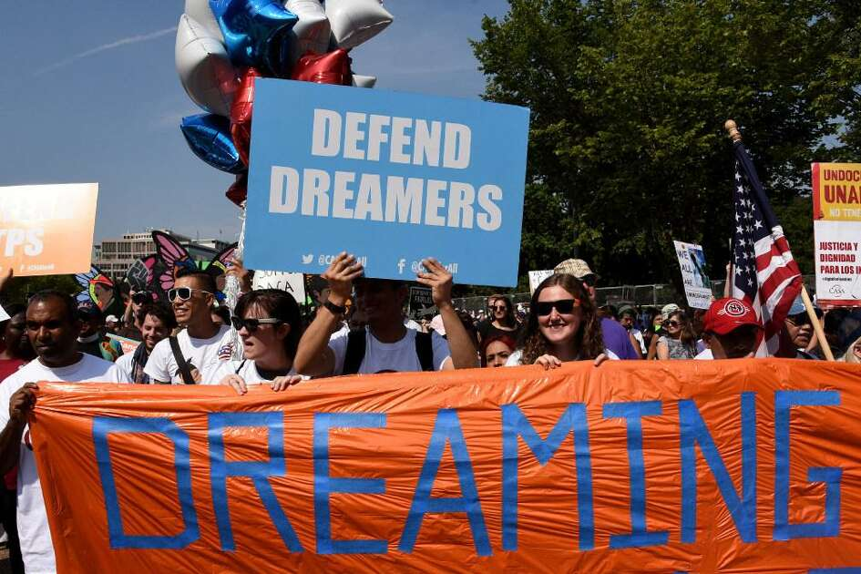 Young immigrants held rally in support of Deferred Action for Childhood Arrivals in Los Angeles