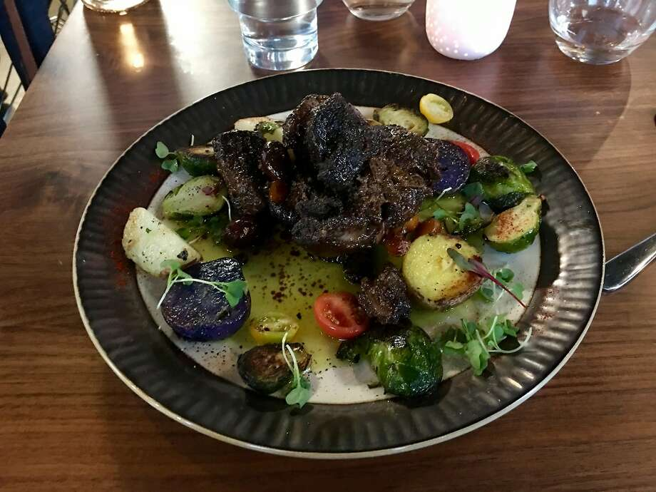 At Khamsa: Slow-cooked lamb with sauteed vegetables. Photo: Michael Bauer, The Chronicle