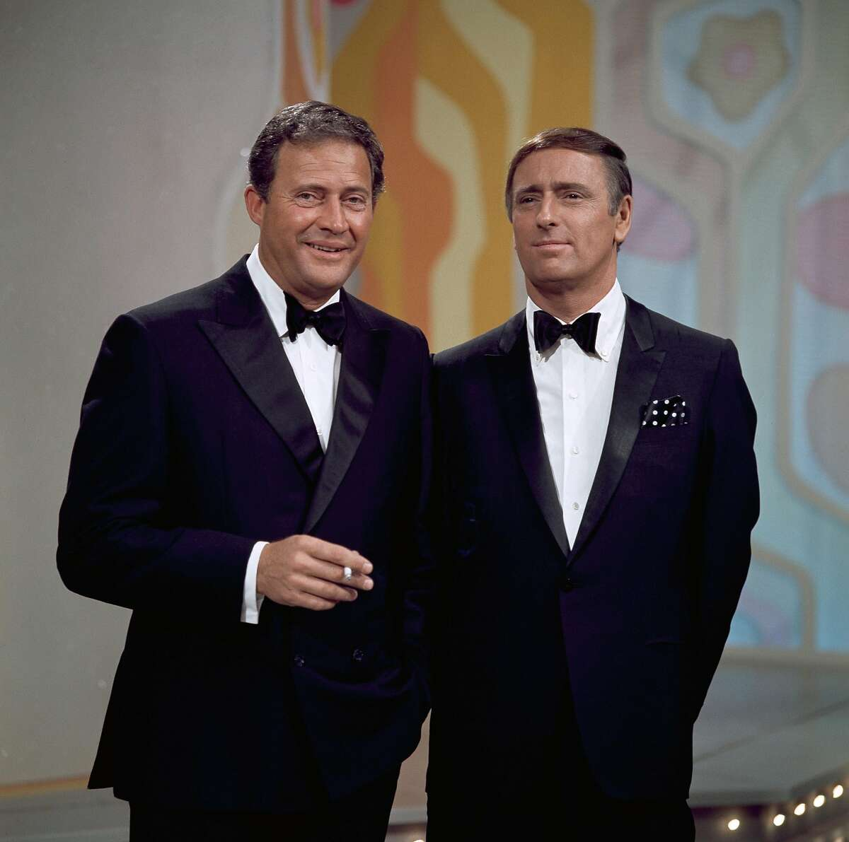 ROWAN & MARTIN'S LAUGH-IN -- Pictured: (l-r) Hosts Dan Rowan and Dick Martin (Photo by NBC/NBCU Photo Bank via Getty Images)