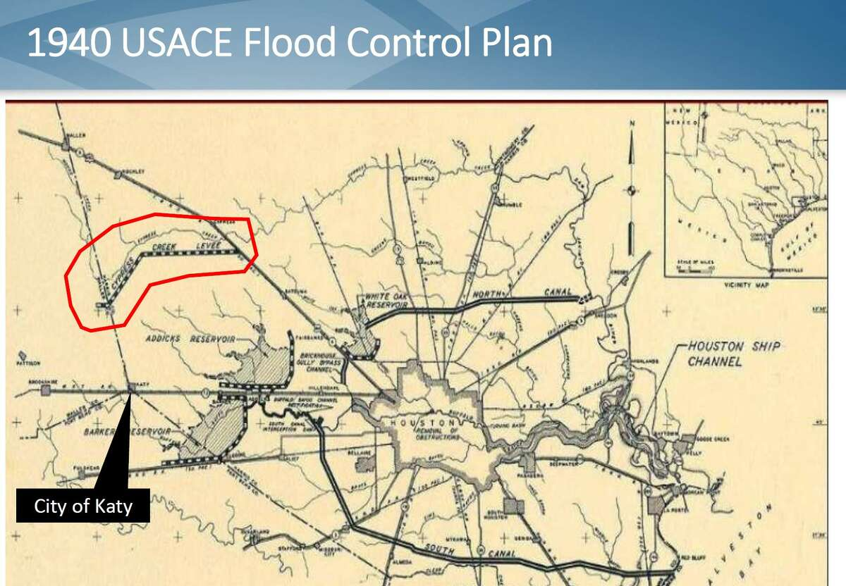 Congressman Michael T. McCaul (TX-10) is working with officials in Katy toward finding a solution to flooding from the Cypress watershed that includes construction of a levee. A 1940s map by the Civil Engineer Corps launched to build infrastructure shows the Barker and Addicks reservoirs as well as a levee for Cypress Creek.