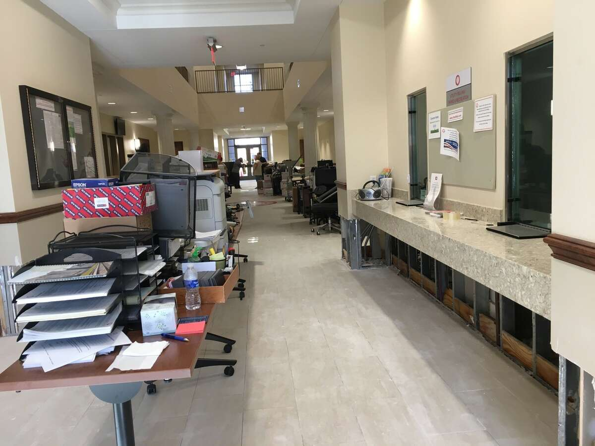 About four inches flooded Katy City Hall during Harvey's visit to the city. Lower wall panels were removed Aug. 31 and mid-hallway tables were full of items moved from offices.The $7.5 million City Hall was dedicated in June 2016 at Second Street between Avenues C and D.