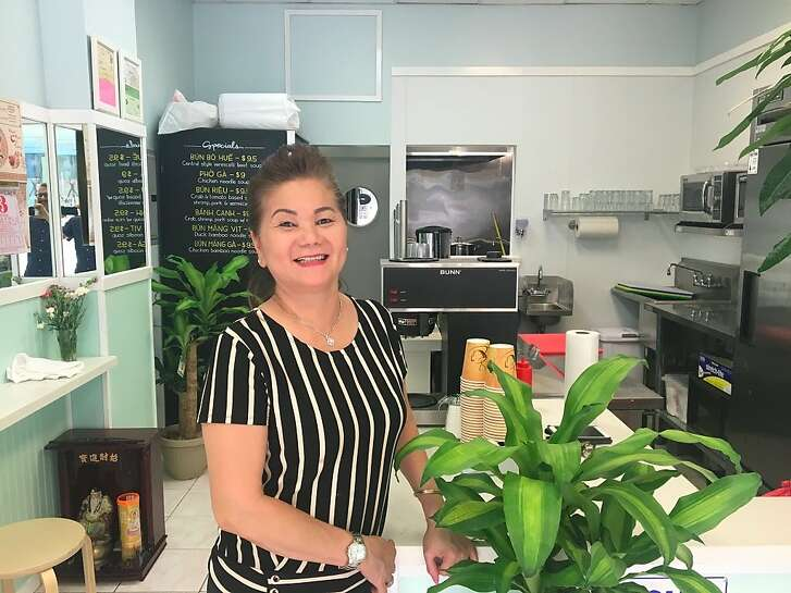 Kim Lien Nguyen in the newly remodeled dining room of her Tenderloin Vietnamese restaurant, Mong Thu.