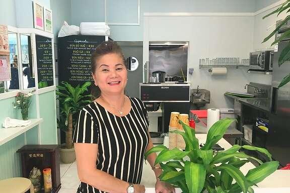 Kim Lien Nguyen in the newly remodeled dining room of her Tenderloin Vietnamese restaurant, Mong Thu.