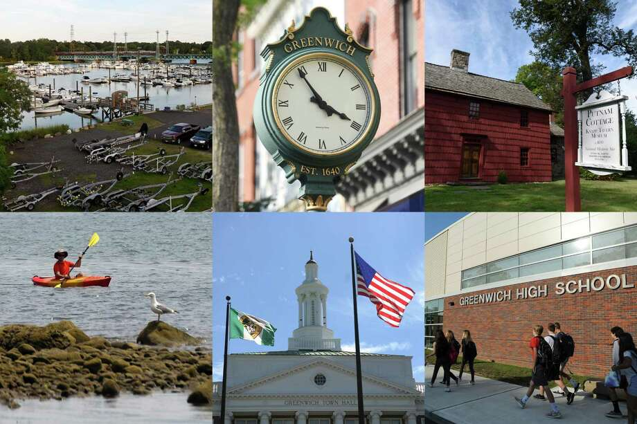Clockwise from top left, Cos Cob Harbor, a clock on Greenwich Avenue, Putnam Cottage, Greenwich High School, Greenwich Town Hall, Greenwich Point Park. (Photo collage - All photos by Tyler Sizemore/Greenwich Time) Photo: Tyler Sizemore / Hearst Connecticut Media / Greenwich Time