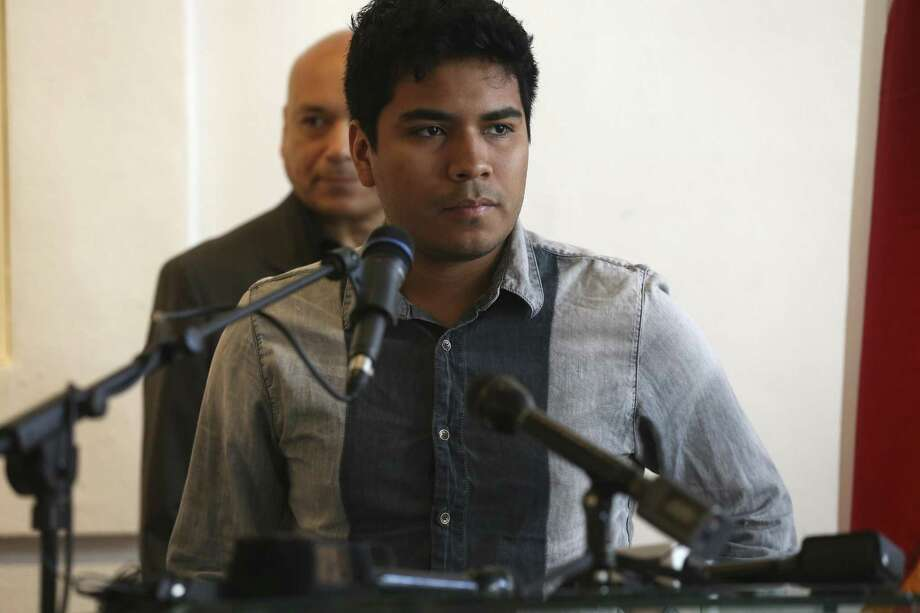 Dreamer Seven Flores, 23, speaks during a Tuesday news conference about DACA. Photo: Jerry Lara /San Antonio Express-News / © 2017 San Antonio Express-News