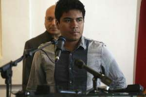 Dreamer Seven Flores, 23, speaks during a Tuesday news conference about DACA.