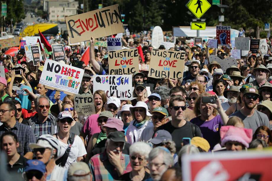 Hundreds of people attend a gathering in Berkeley on Aug. 27, in response to a planned right-wing rally that was canceled. Photo: Elijah Nouvelage, Getty Images