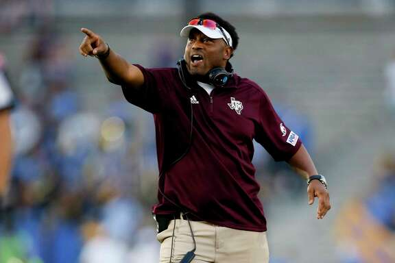 FILE - In this Sunday, Sept. 3, 2017, file photo, Texas A&M head coach Kevin Sumlin gestures during an NCAA college football game against UCLA, in Pasadena, Calif. Sumlin was already on the hot seat before the team squandered a 34-point lead in a loss to UCLA in its opener on Sunday night. Now there are many more questions about Sumlin's future as the Aggies prepare to host Nicholls State on Saturday. (AP Photo/Danny Moloshok, File)