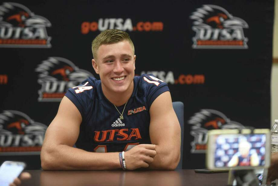 UTSA quarterback Dalton Sturm speaks during media day at the H-E-B University Center on campus on Aug. 12, 2017. Photo: Billy Calzada /San Antonio Express-News / San Antonio Express-News