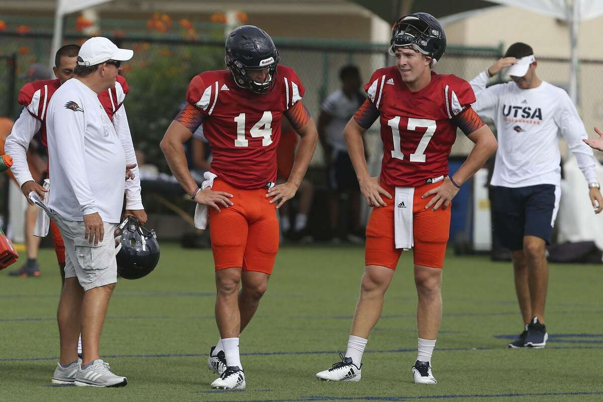 UTSA quarterbacks Dalton Sturm (left, #14) and Bryce Rivers (right, #17) practice Tuesday August 15, 2017 at UTSA. The Roadrunners play their first game of the season against the University of Houston this September.