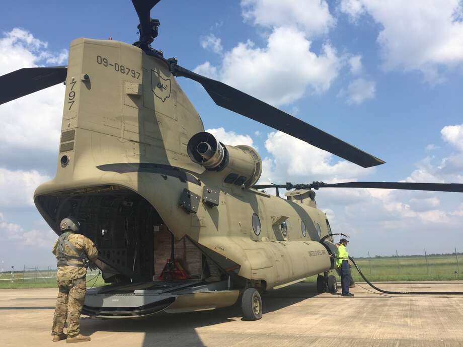 Buckeye II, a Chinook helicopter belonging to the Ohio Army National Guard, on Monday carried food and water for the people of  Kountze, Texas. Photo: Kate Cimini
