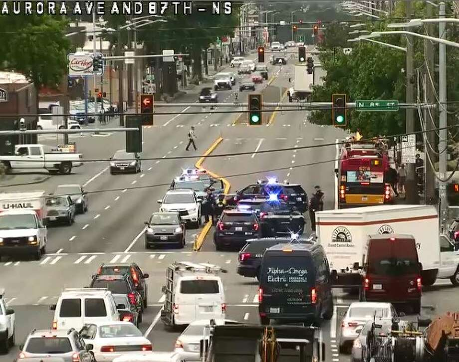 A felon running from cops blocked traffic on Aurora Avenue North  Tuesday morning after running into the side of an SUV, Seattle police  say. Photo: Seattle Department Of Transportation