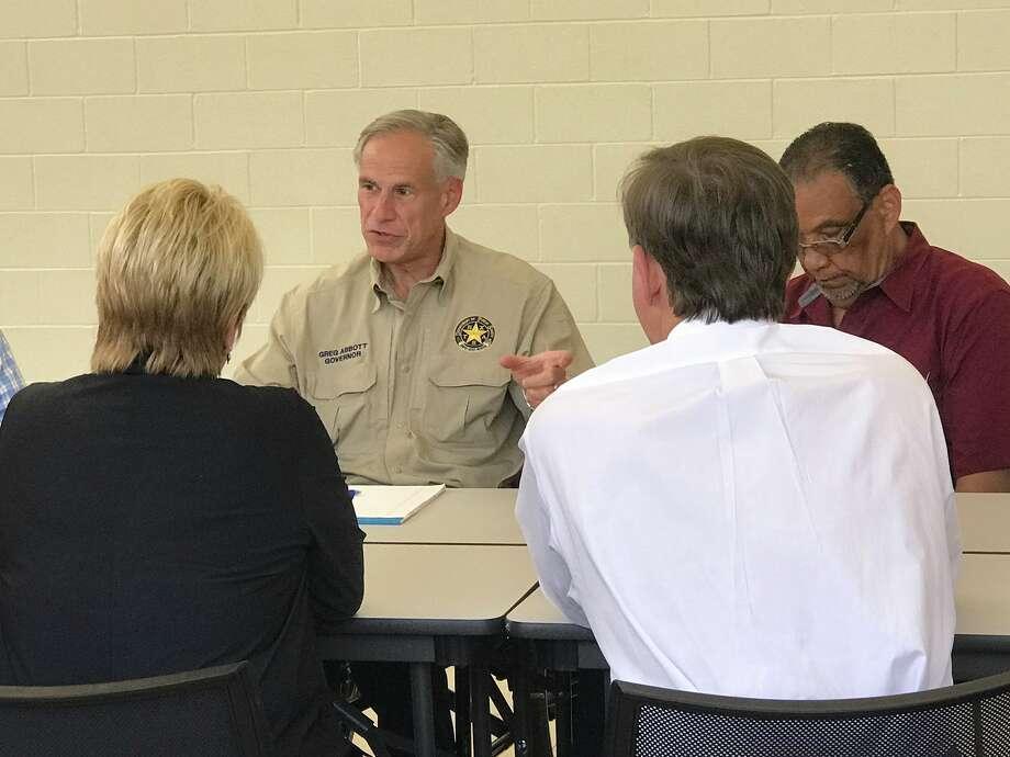 Gov. Abbott addresses local officials at Ozen High School in Beaumont. September 5, 2017. Photo: Kim Brent
