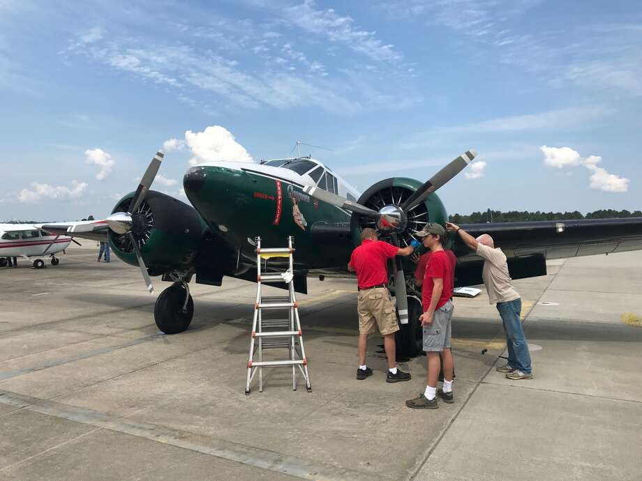 """Since Harvey hit Texas, the Hixson Museum of Flight has  dedicated its planes to flying supplies into affected areas. """"The aircraft is a C45-Hotel model, an aircraft that saw action in  Korea,"""" said volunteer pilot Peter O'Hare. """"What it was doing in Korea, it's doing now: flying  supplies."""" Photo: Kate Cimini"""