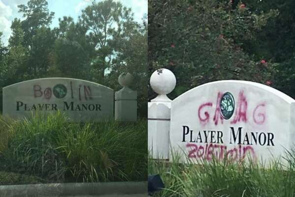 Vandals spray-paint signs in The Woodlands