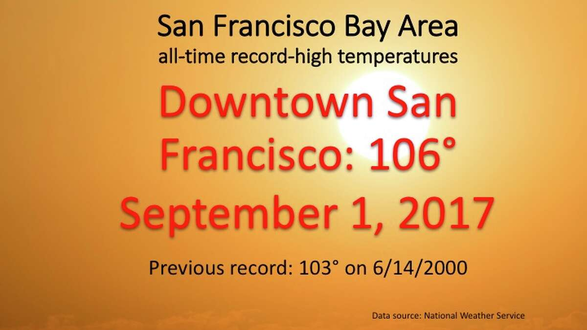 The highest temperatures ever recorded at National Weather Service stations located around the San Francisco Bay Area as of Sept. 5, 2017