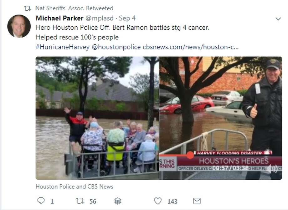 Officer battling cancer saves over 1,500 peopleHouston police officer Bert Ramon, a 24-year veteran, is battling stage four colon cancer but that didn't keep him from helping to save nearly 1,500 people from the floodwaters of Hurricane Harvey. Read his story here. >> Read other heroic stories that emerged from Harvey... Photo: National Sheriff's Association