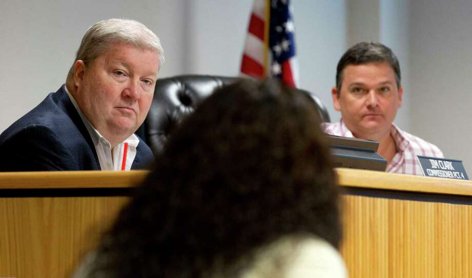 Montgomery County Commissioner Precinct 4 Commissioner Jim Clark, left, listens along with Precinct 3 Commissioner James Noack during a meeting at the Alan B. Sadler Commissioners Court building, Tuesday, Sept. 5, 2017, in Conroe. Photo: Jason Fochtman, Staff Photographer / © 2017 Houston Chronicle