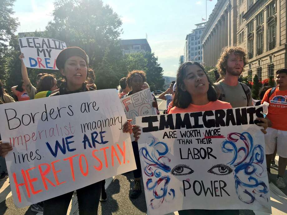 About 40 people took a bus organized by Connecticut Students for a Dream from Hartford to Washington, D.C., on Tuesday to protest the Trump Administration's ending of the Deferred Action for Childhood Arrivals. Photo: Contributed