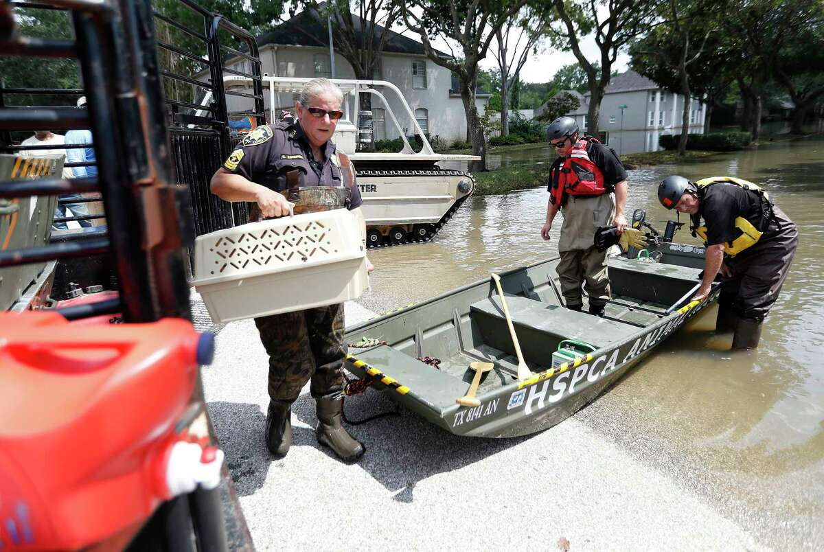 Harris County Constable Precinct 1, Chris Kendrick, carries a cat in a carrier out out of a boat in a flooded house in a neighborhood at Memorial and Crossroads with Bob Wilson, and Octavio Gonzalez, both with the Houston SPCA.