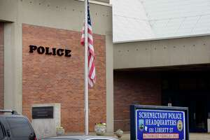 A view of the Schenectady Police station on Tuesday, Aug. 15, 2017, in Schenectady, N.Y.  Schenectady Public Safety Commissioner Wayne Bennett died early Tuesday.    (Paul Buckowski / Times Union)