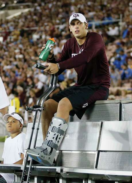 Texas A&M quarterback Nick Starkel sits on the bench with an injury after leaving the game against UCLA during the second half of an NCAA college football game, Sunday, Sept. 3, 2017, in Pasadena, Calif. (AP Photo/Danny Moloshok) Photo: Danny Moloshok, FRE / FR161655 AP