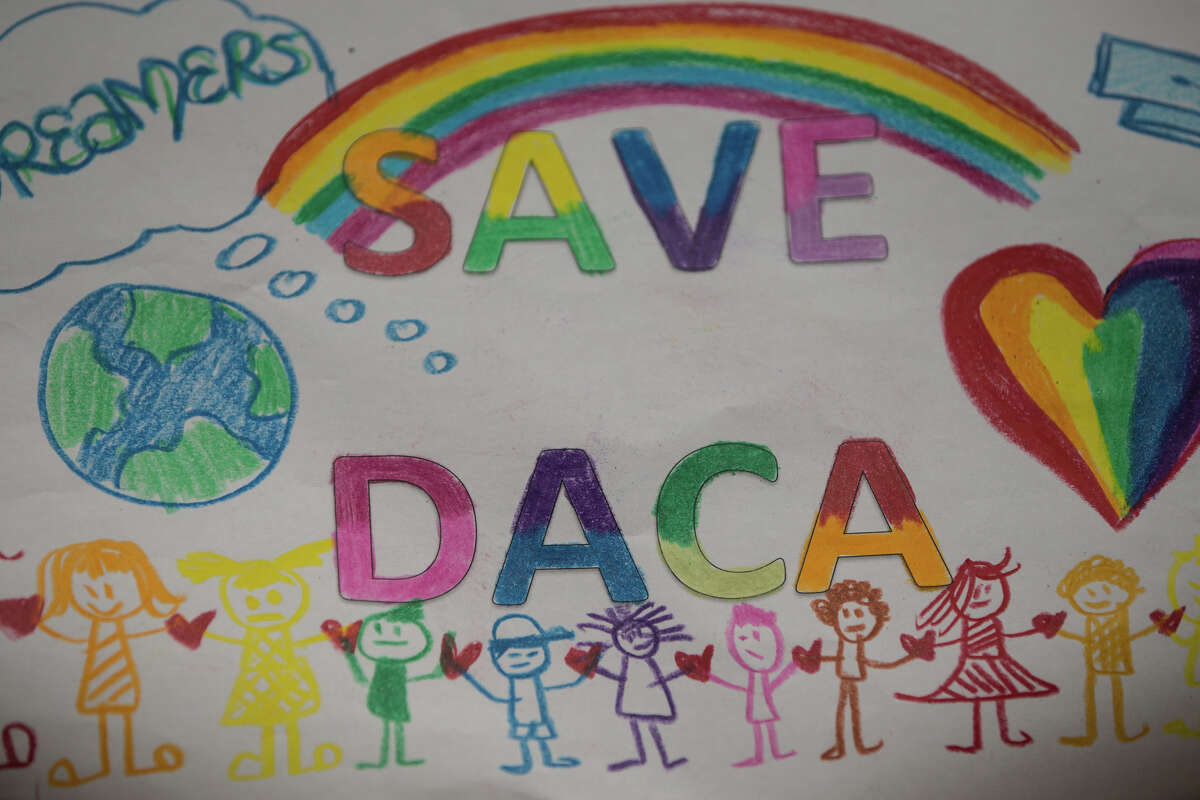A child's sign from Jose Marti Child Development Center during a rally against President Trump's decision to end DACA at El Centro De La Raza.
