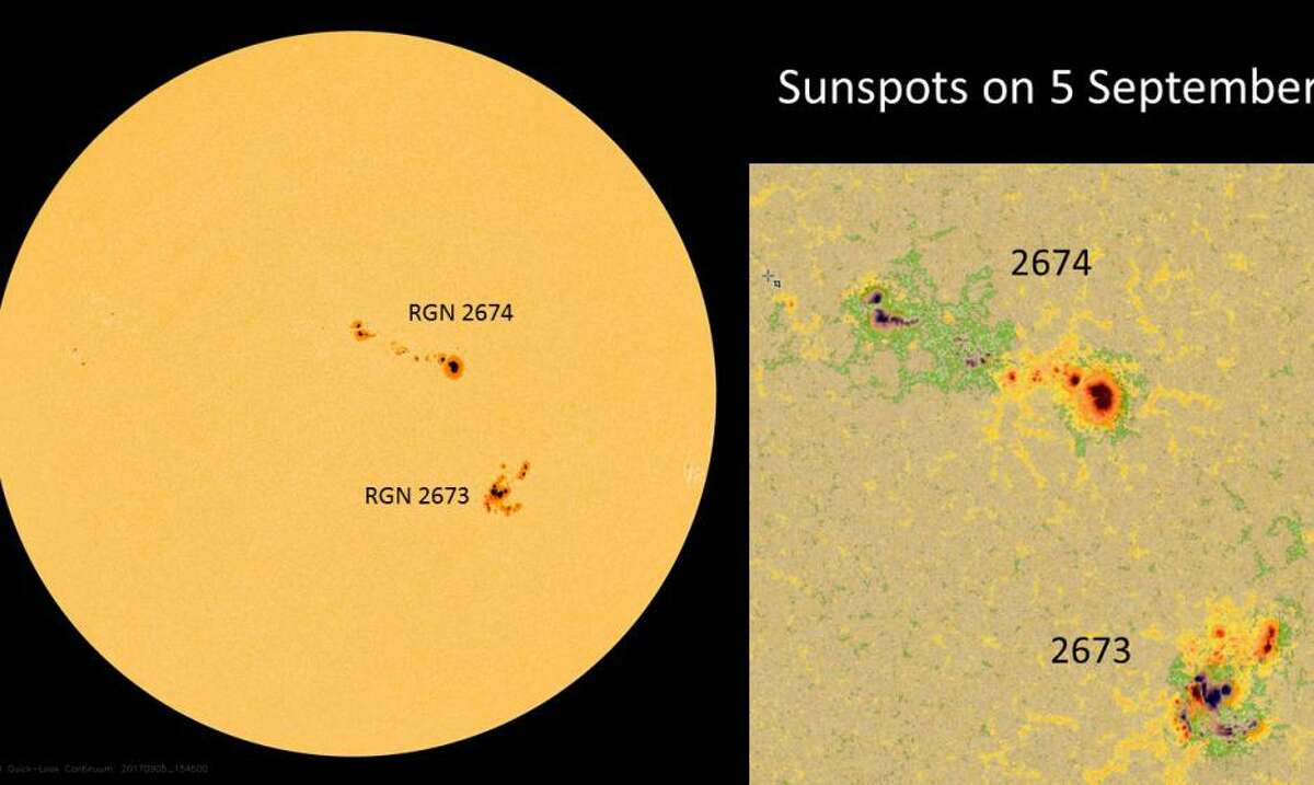 Two large sunspot groups visible on the disk of the sun Sept. 5, 2017.