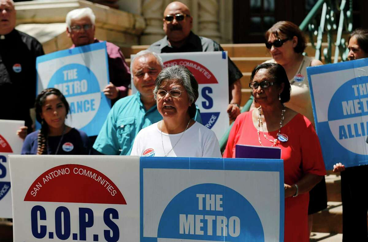 Passing Ready to Work SA is the latest in a series of victories in COPS/Metro's decades-long strategy to invest in human development. And Project QUEST is the right model for success. Here, COPS/Metro members rally on the steps of City Hall in 2017.