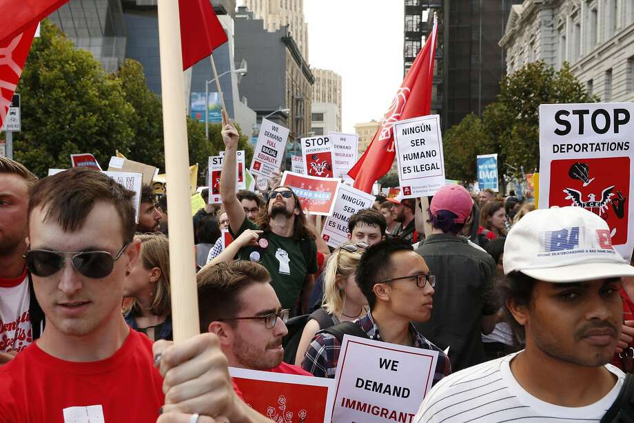Hundreds protest outside the San Francisco Federal Building on Tuesday, Sept. 5, 2017, in San Francisco, Calif. Demonstrators rallied in support of the Deferred Action for Childhood Arrivals (DACA) program, which the Trump administration said will phase out in six months. Photo: Santiago Mejia / The Chronicle 2017