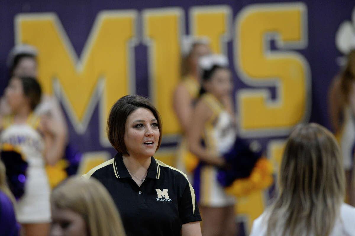 Midland High volleyball head coach Amanda Lopez during a game Seminole on Sept. 5, 2017, at MHS. James Durbin/Reporter-Telegram