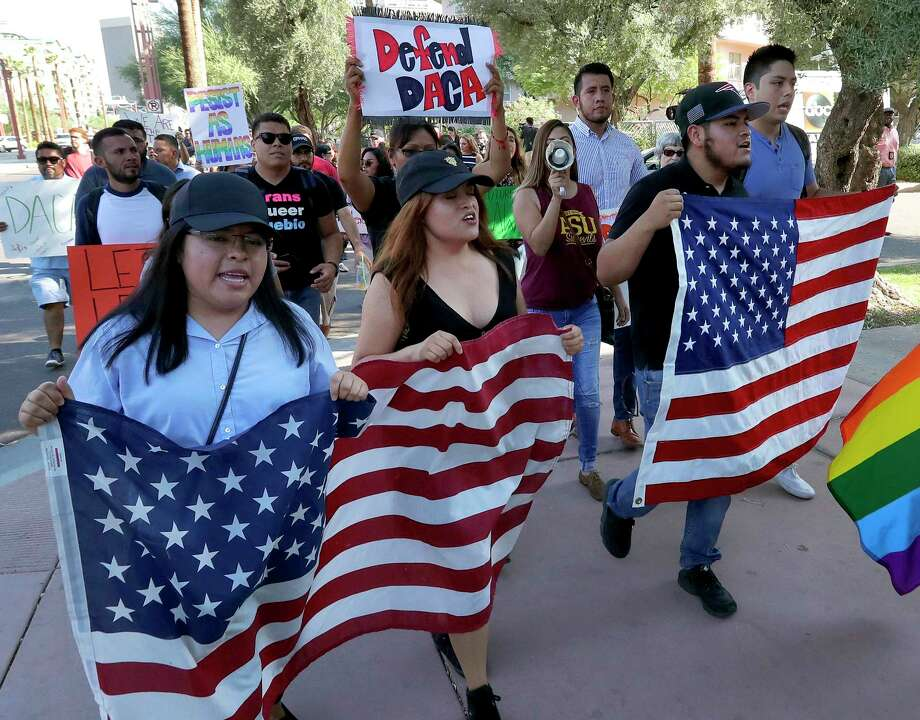 Deferred Action for Childhood Arrivals (DACA) supporters march Tuesday, Sept. 5, 2017, in Phoenix. Photo: Matt York, STF / Copyright 2017 The Associated Press. All rights reserved.