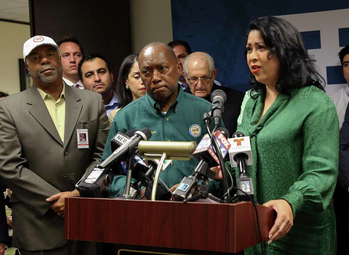 Houston Mayor Sylvester Turner, second left, joins Houston Hispanic Chamber of Commerce President and CEO Dr. Laura Murillo, right, Houston Fire Chief Samuel Pe-a, lawmakers and religious leaders to condemn the Trump administration's decision to end the Deferred Action for Childhood Arrivals during a press conference Tuesday, Sept. 5, 2017, in Houston.