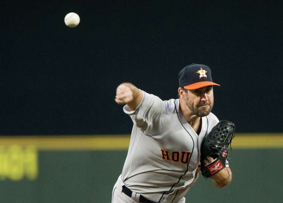 Justin Verlander will make his second start as a member of the Houston Astros when they take on the Angels on Tuesday night in Anaheim. Photo: Lindsey Wasson, Getty Images / 2017 Getty Images