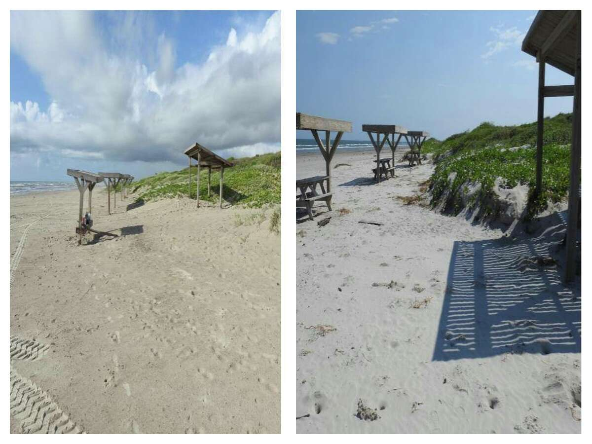 """""""We thought you might want to see what kind of dune erosion happened on Malaquite Beach from Hurricane Harvey,"""" a post on the Padre Island National Seashore reads."""