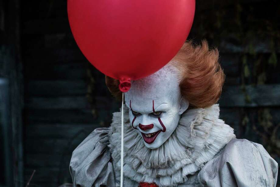 """Bill Skarsgård underwent a makeup transformation for his role as Pennywise in """"It."""" Photo: Brooke Palmer, HONS / © 2017 Warner Bros. Entertainment Inc. and RatPac-Dune Entertainment LLC All Rights Reserved"""