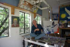 Sam Baker, artist and musician, photographed in his Austin studio