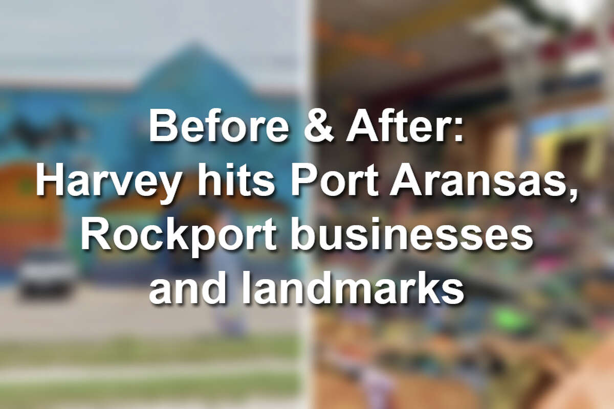 Startling before and after photos show Harvey's damage at easily recognizable businesses and landmarks in the coastal towns of Port Aransas and Rockport just days after the storm hit.